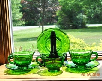 3 - Cambridge Forest Green Cups and Saucers in The Diane Pattern