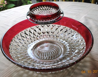 Indiana Glass Diamond  Point Ruby Red Flash Chip and Dip Bowl
