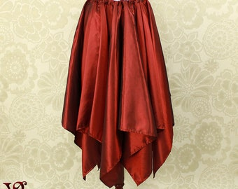 """Steampunk Fairy Cranberry Iridescent Taffeta Pointed Petal Skirt -- 8 Points, 36"""" Point Length -- Fits up to 38"""" Waist, Ready to Ship!"""