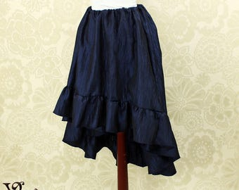 "Steampunk High Low Cecilia Skirt, Longer Length -- Midnight Blue Crinkle Taffeta -- Ready to Ship -- Best Fits Up To 48"" Waist"