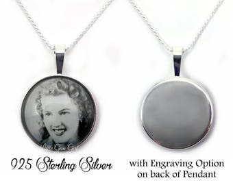 925 STERLING SILVER Engraved Photo Necklace - Custom Picture Necklace - Photo Charm Necklace - In Memory Photo Necklace