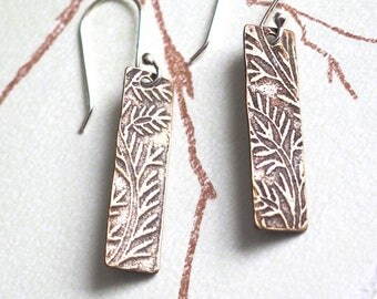 Floral textured bronze rectangle earrings