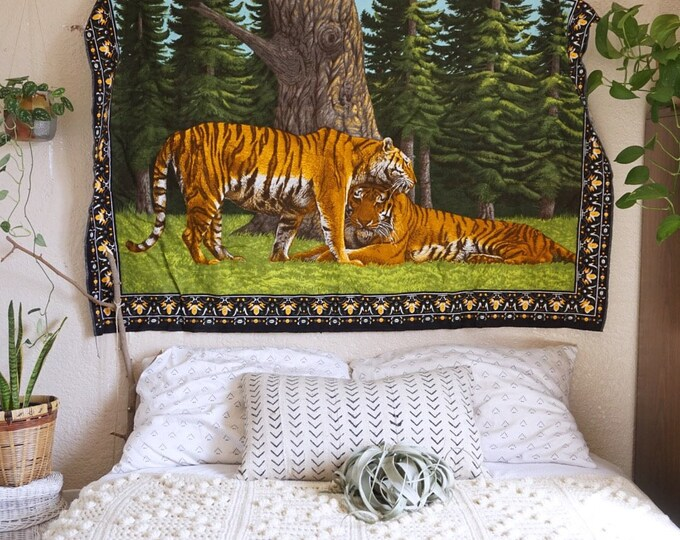Large Vintage Tiger Tigress Wall Tapestry / Rug / Textile