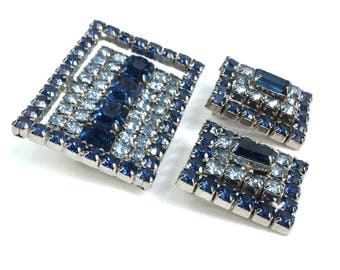 Blue Rhinestone Brooch Earrings Demi Parure