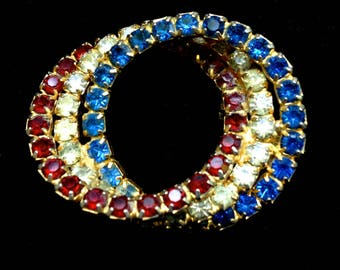 Red, White and Blue Rhinestone Circle Brooch