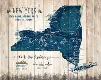 New York Wall Art, New York Map Gifts, State Parks Posters, State Prints of New York, Personalized map, Parks and recreation Push Pin canvas