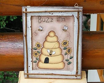Beehive Painting Buzz Inn  Bees Sunflowers