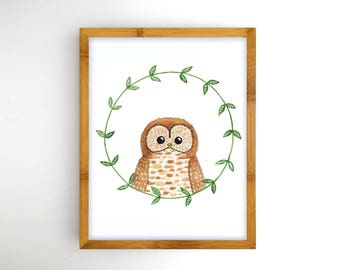 Owl Printable Nursery Art - Instant Download Printable Art - Woodland Nursery Artwork