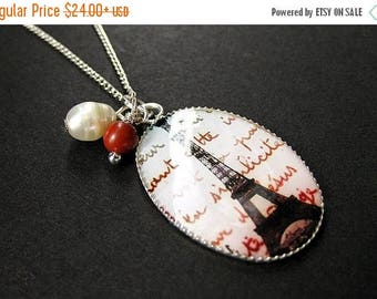 BACK to SCHOOL SALE Summer in Paris Charm Necklace with Red Jasper and Fresh Water Pearl