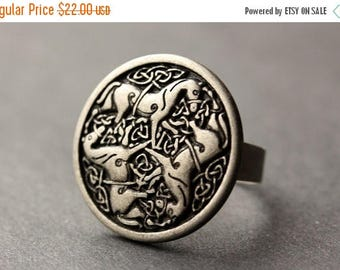 BACK to SCHOOL SALE Three Horses Ring. Horse Button Ring. Horse Ring. Silver Button Ring. Adjustable Ring. Silver RIng. Handmade Ring. Horse