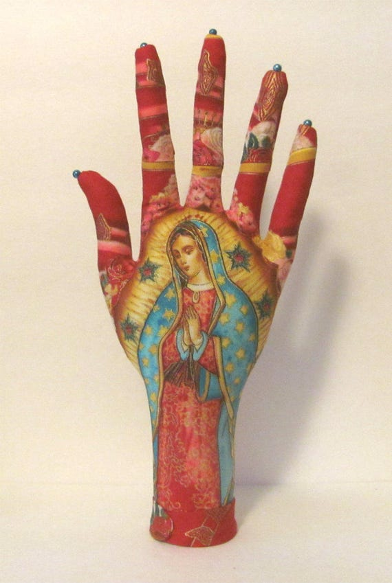 Our Lady of Guadalupe Fabric CLASSIC Necklace HAND-Stand Ready to Ship
