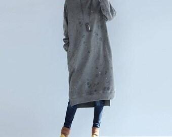 Winter loose cotton Asymmetry dress large size Winter Bottoming dress