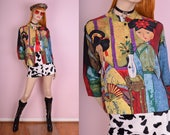 90s Asian Motif Silk Blouse/ Medium/ 1990s/ Button Down