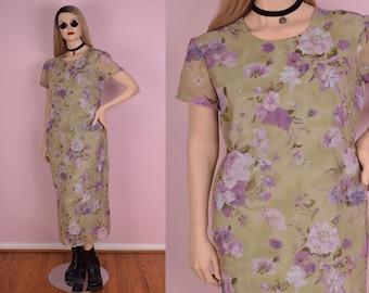 90s Floral Print Maxi Dress/ US 14/ 1990s