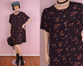 90s Floral Print Button Down Dress/ XL/ 1990s/ Short Sleeve