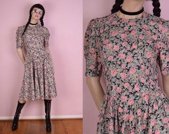 80s Floral Print Dress/ US 7-8/ 1980s