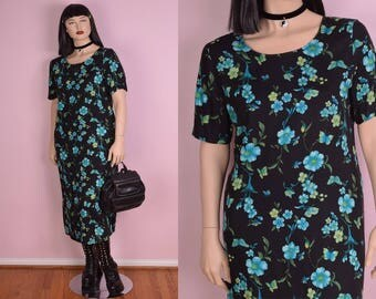 90s Floral and Butterfly Print Dress/ XL/ 1990s/ Short Sleeve