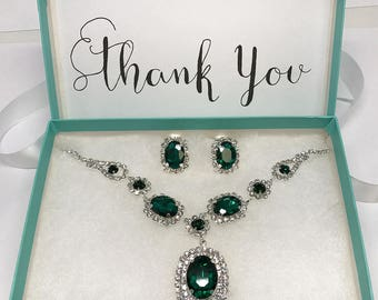 Wedding jewelry, bridesmaid necklace earrings, vintage inspired rhinestone bridal statement, Emerald Green jewelry set