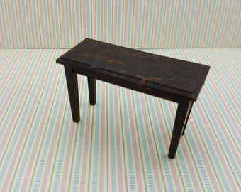 Renwal Piano Bench Doll House Toy living room Hard Plastic Brown