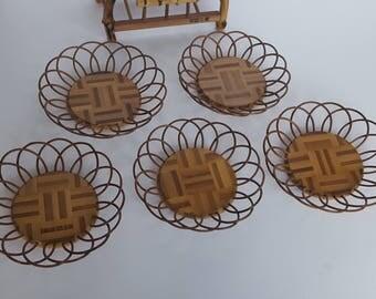 Bamboo and Teak Wood Beverage Coasters set of 5