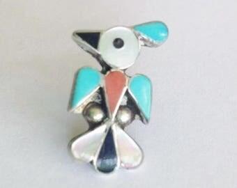 Vintage Sterling Silver Multi-Gemstone Bird Roadrunner Pin