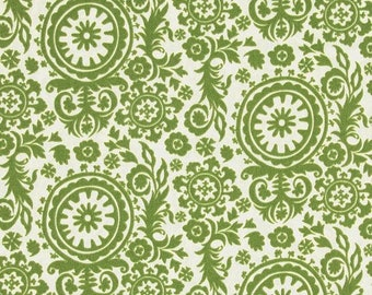 """One 52"""" Round Tablecloth  Indoor/Outdoor - Suzani - Green"""