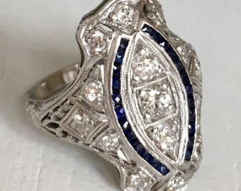 Platinum Diamond Sapphire Engagement Ring Filigree Dinner Ring