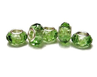 RESTCOCK date 8-18-17,  Quantity 5, Green, Glass,  European Style, Crystal Cut / Faceted, Slide Charm Spacer Beads - Euro