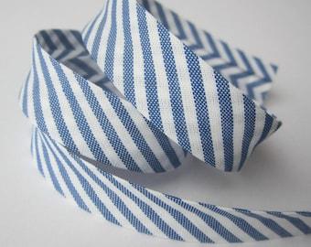 18mm patterned bias binding - royal blue white diagonal stripe candy stripe - preppy