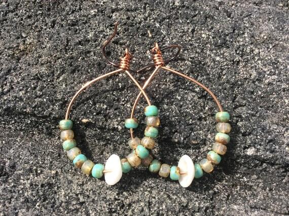 Hawaiian Puka Shell, Turqoise Champagne Picasso, Copper Hoop Earrings