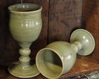 Green Wine Goblet tumblers cups by village pottery pei