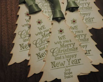 Vintage Inspired Christmas tree shaped gift tag - set of 6