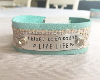 Customize Hand Stamped Metal on Aqua Leather Cuff