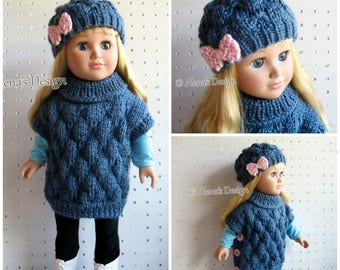 Knitting Pattern 2 PC Set for 18 inch Doll Knitting Patterns Slouchy Bow Hat Pullover Poncho for American Doll My Life As Doll Gift for Girl