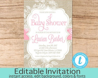 burlap and lace baby shower invitation pink burlap baby shower invitation burlap invitation