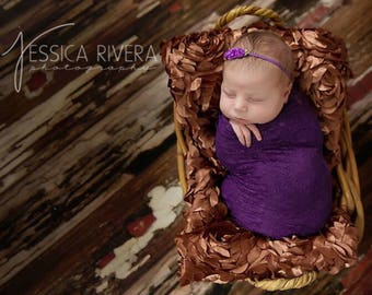 Royal Purple stretch lace swaddle wrap AND/OR ribbon flower headband for newborn photo shoots, lace wrap by Lil Miss Sweet Pea