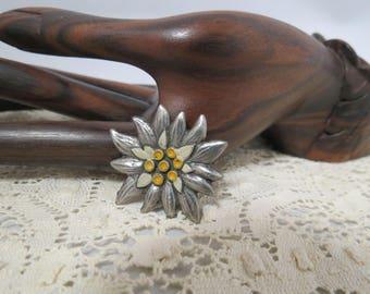 Vintage Floral Brooch Zinn Hand Painted Pewter