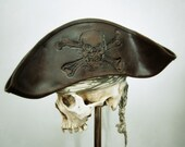 Brown Leather Pirate Tricorn Hat