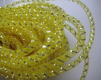 4 mm YELLOW Mesh Tubing, Nylon Mesh Tubing, Mesh Wreathes for Wedding, Baby Shower, Crafting, Embellishment, 50 yards