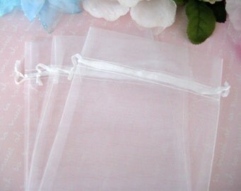 "5"" x 6.5"" White Organza Bags for Wedding Favor, Party Favors, Baby Shower Favors, Gift Bags, Sachets, Jewelry Bags, 13 cm x 16 cm, 12 pieces"