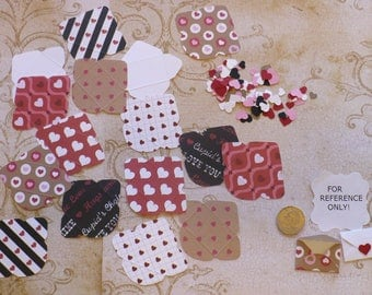 DIY Tiny - Fold Envelopes / Punched Pieces - Made from assorted Valentine Prints cardstock
