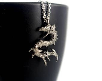 Pave Diamond Dragon Necklace, Sterling Silver Dragon Necklace, Silver Genuine Diamond Necklace, Diamond Dragon Pendant Diamond Pave Necklace