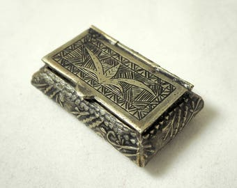 Vintage Tobacco Marijuana Tin, Ornate Etched Indian Silver Metal Hinged Pill Box/Trinket Box/Cannabis Stash Tin