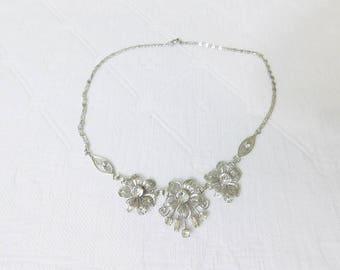 Vintage sterling silver filigree floral rhinestone necklace