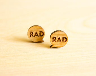 Rad Word Bubble Studs, Laser Cut Wood Earrings, Retro Word Bubble, Comic Book Graphic Artist Gift, Kitsch Campy Gift