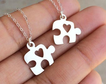 Puzzle Piece Heart Necklace, Autism Necklace, Autism Jewelry, Hand Sawed Necklace