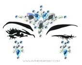 Face jewels & gems, body crystals, bindi stickers, BLUE WHITE, jewelry stickers, festival, rave, adhesive makeup, glitter, sparkle, MERMAID