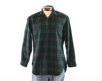 Vintage 80s Pendleton Shirt Green Blue Plaid Wool Button Up Long Sleeves Mens 1980s Large L