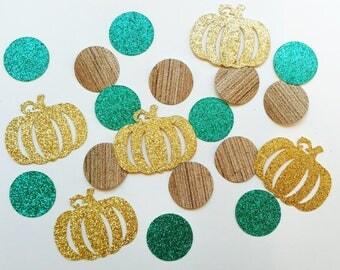 Pumpkin Confetti, Fall Wedding Confetti, Fall Baby Shower, Little Pumpkin Birthday, Fall Bridal Shower Decoration, Teal and Gold, 100 PIECES