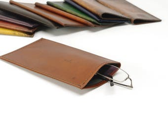 Light Brown Leather Slip-in Glasses Case (Large) - CLEARANCE -